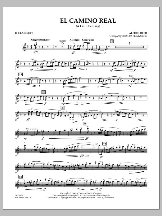 Robert Longfield El Camino Real - Bb Clarinet 1 sheet music notes and chords
