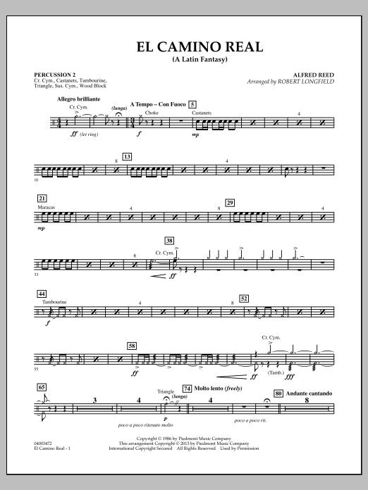 Robert Longfield El Camino Real - Percussion 2 sheet music notes and chords