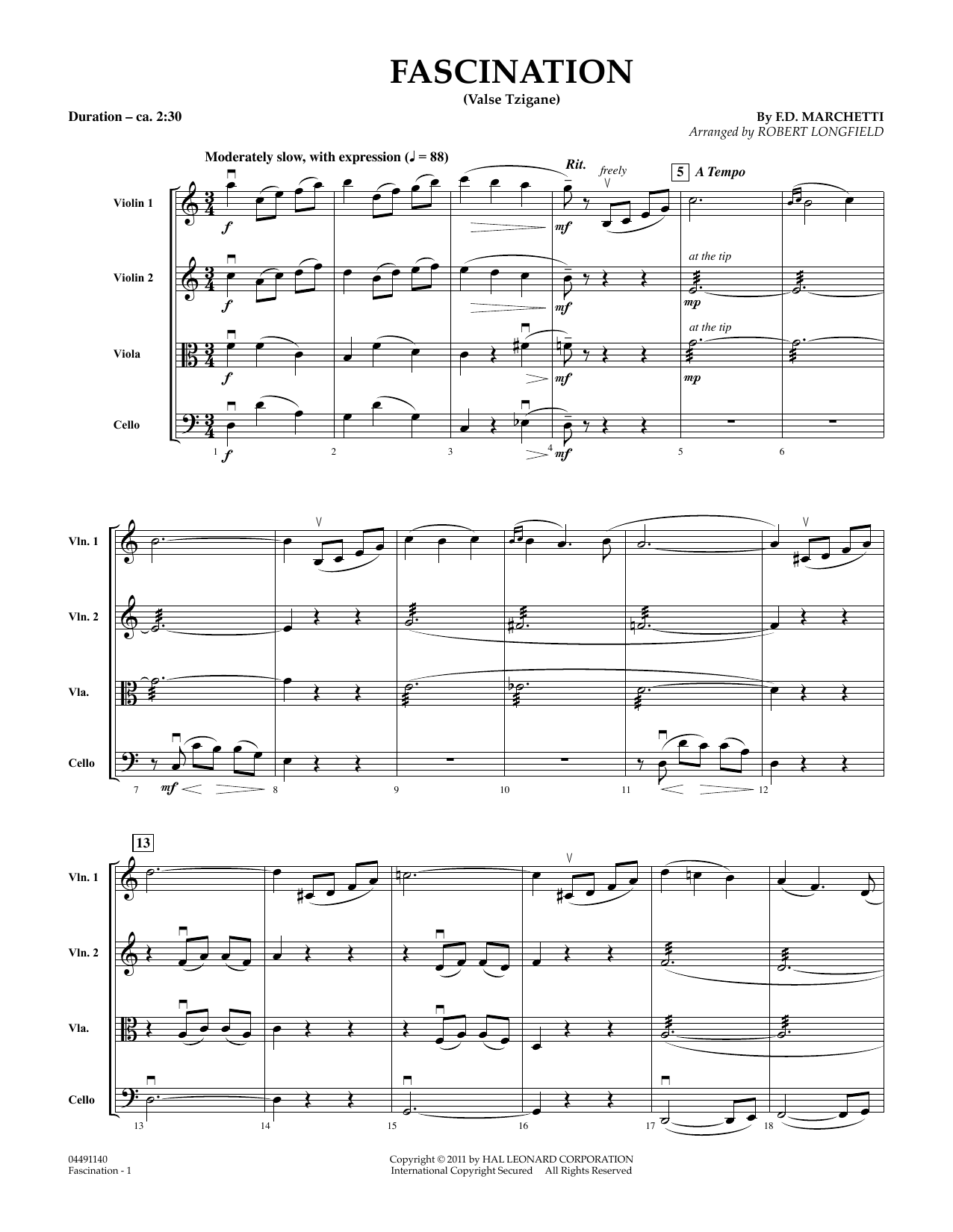 Robert Longfield Fascination (Valse Tzigane) - Conductor Score (Full Score) sheet music preview music notes and score for String Quartet including 4 page(s)