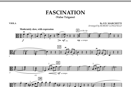 Robert Longfield Fascination (Valse Tzigane) - Viola sheet music preview music notes and score for String Quartet including 1 page(s)