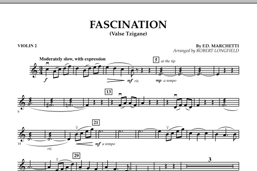 Robert Longfield Fascination (Valse Tzigane) - Violin 2 sheet music preview music notes and score for String Quartet including 1 page(s)