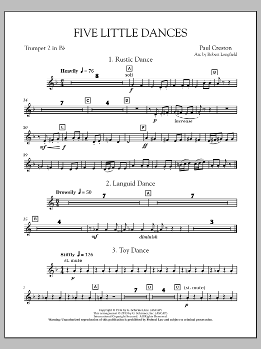 Robert Longfield Five Little Dances - Bb Trumpet 2 sheet music notes and chords