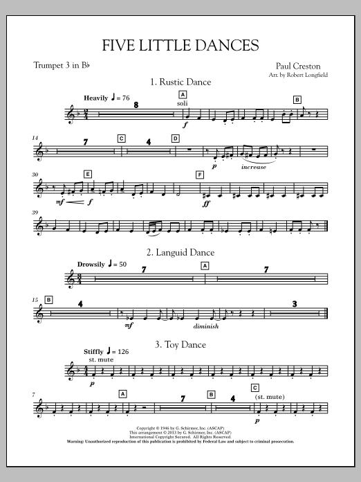 Robert Longfield Five Little Dances - Bb Trumpet 3 sheet music notes and chords