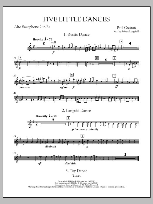 Robert Longfield Five Little Dances - Eb Alto Saxophone 2 sheet music notes and chords