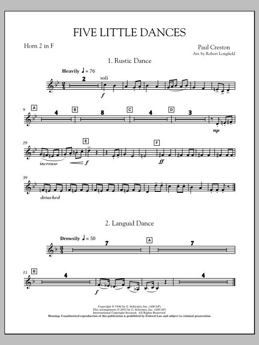 Robert Longfield Five Little Dances - F Horn 2 sheet music notes and chords