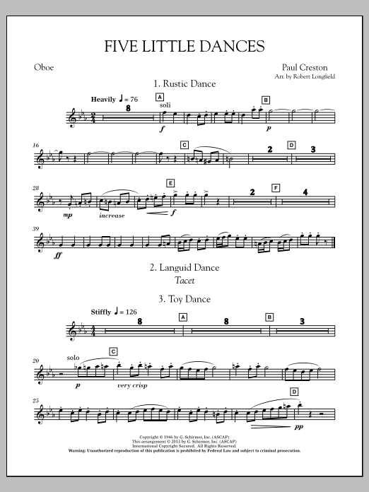 Robert Longfield Five Little Dances - Oboe sheet music notes and chords