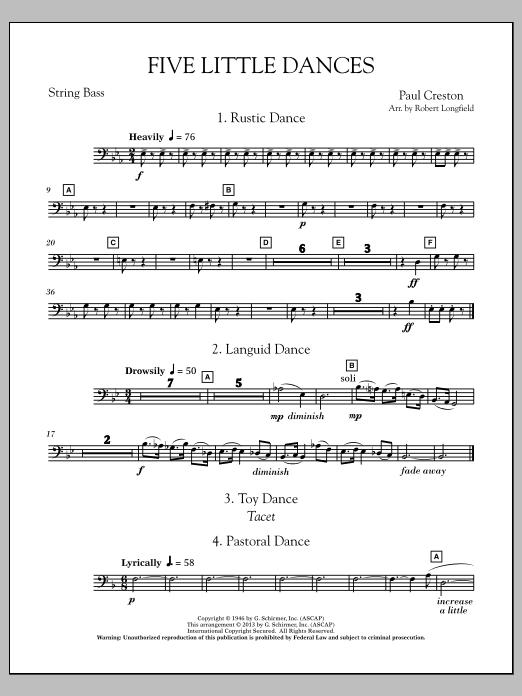 Robert Longfield Five Little Dances - String Bass sheet music notes and chords