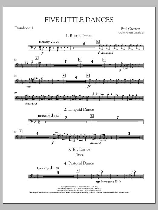 Robert Longfield Five Little Dances - Trombone 1 sheet music notes and chords