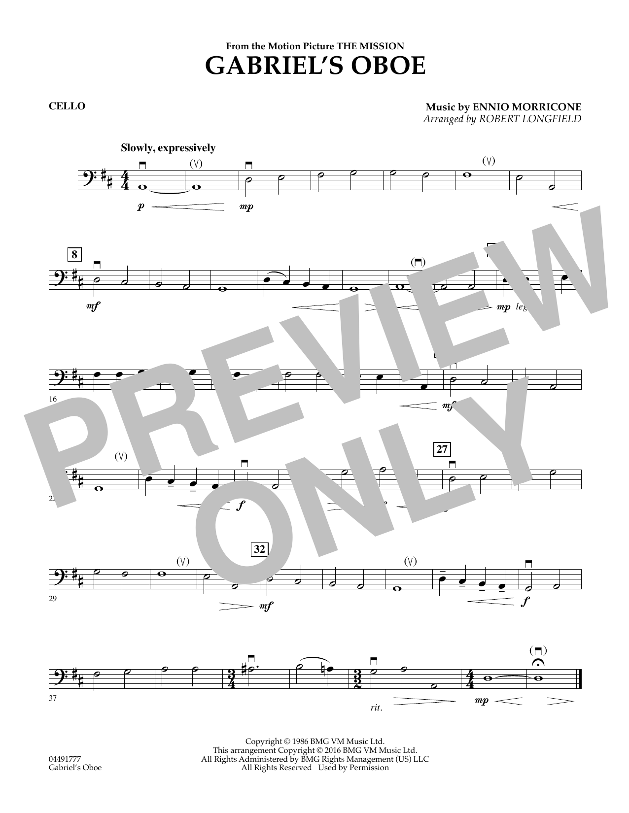 Robert Longfield Gabriel's Oboe - Cello sheet music preview music notes and score for String Quartet including 1 page(s)