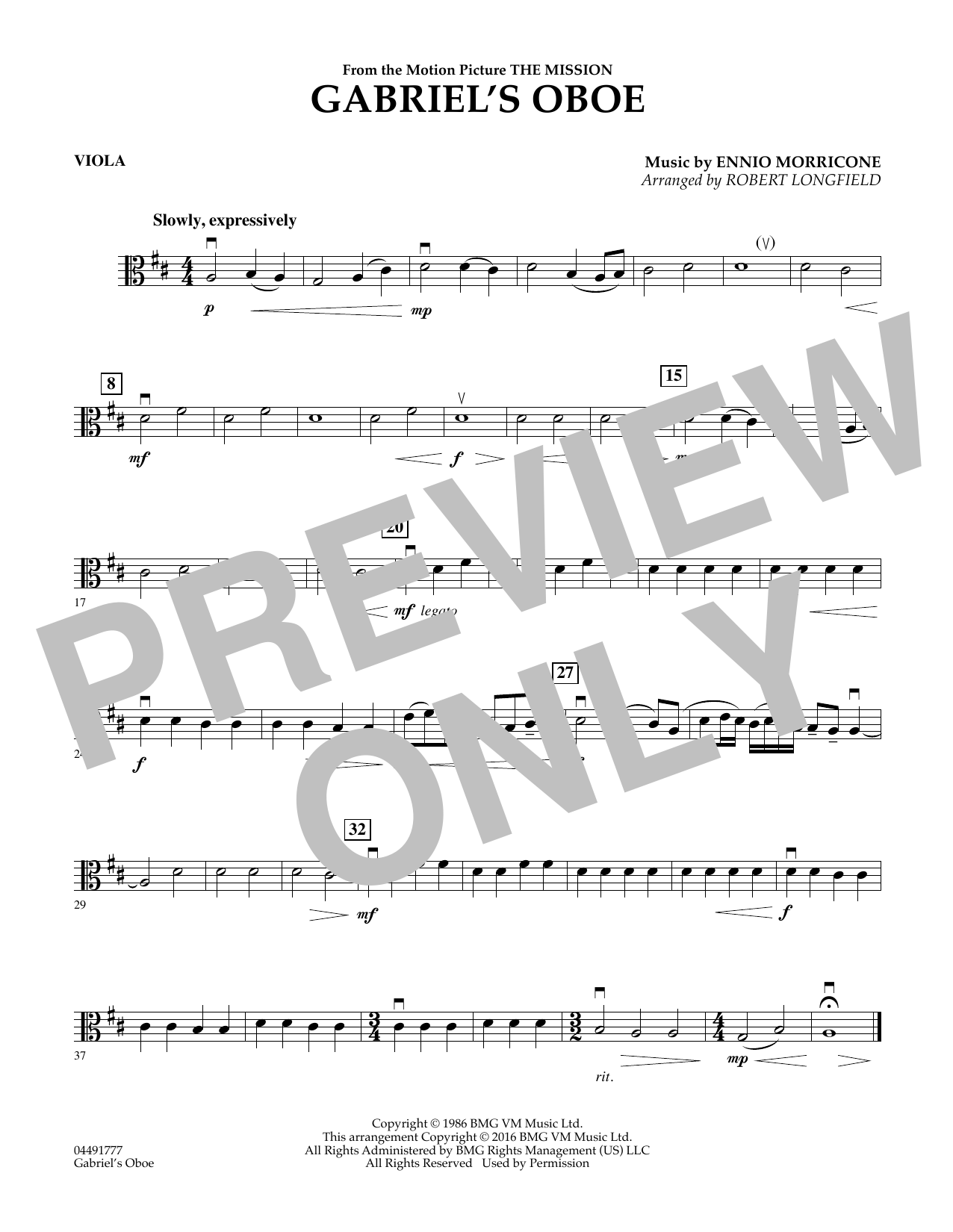 Robert Longfield Gabriel's Oboe - Viola sheet music preview music notes and score for String Quartet including 1 page(s)
