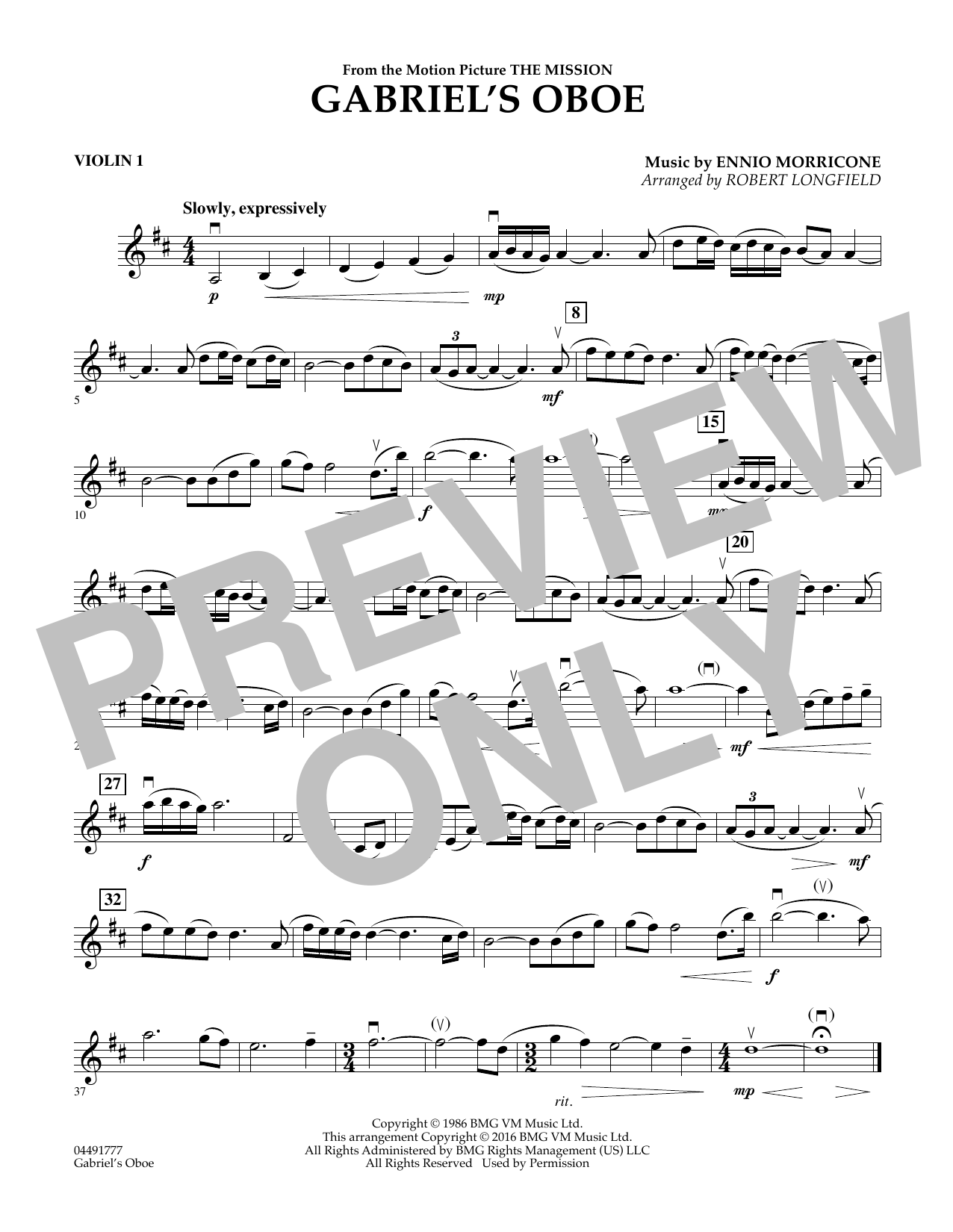 Robert Longfield Gabriel's Oboe - Violin 1 sheet music preview music notes and score for String Quartet including 1 page(s)