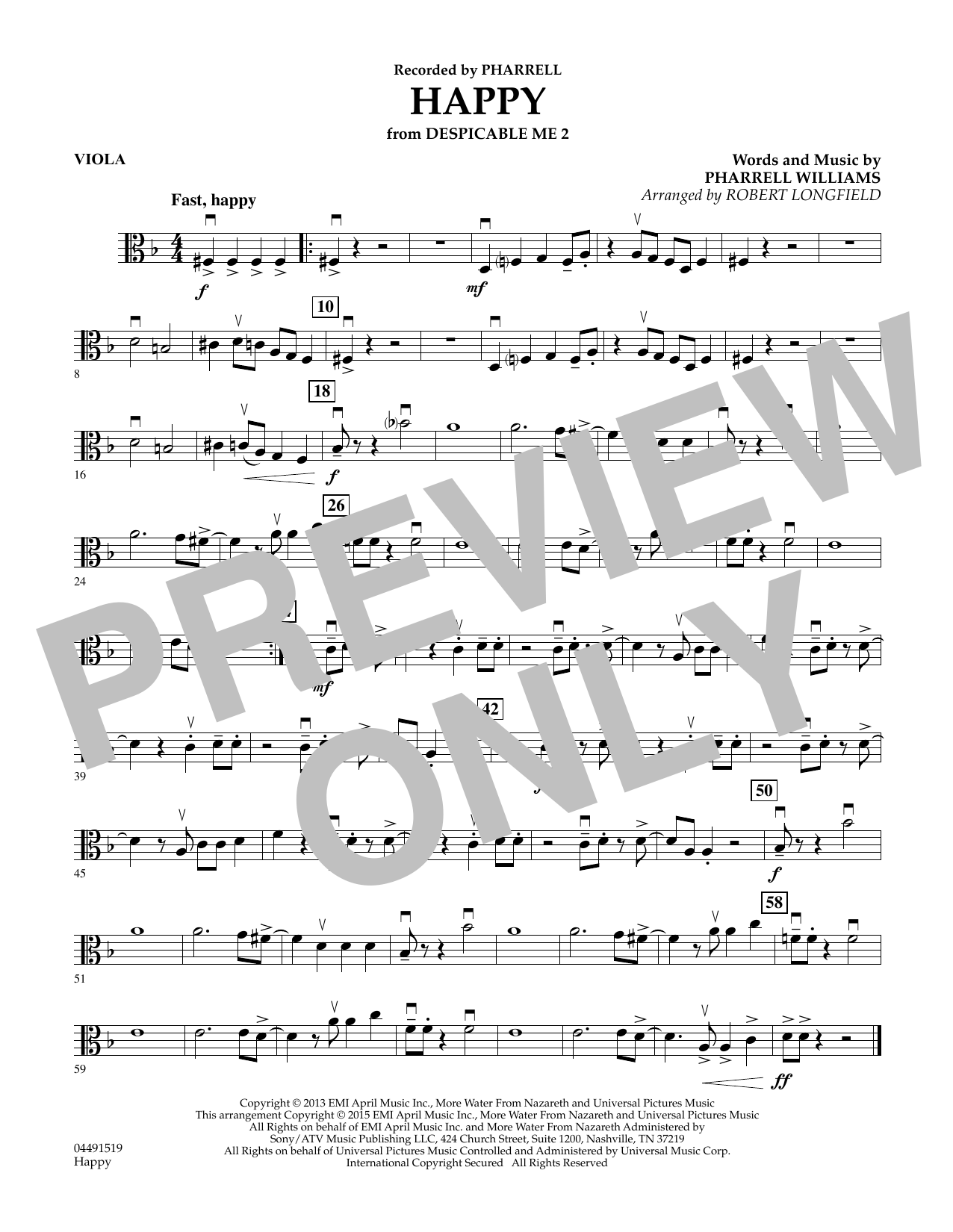 Robert Longfield Happy - Viola sheet music preview music notes and score for String Quartet including 1 page(s)