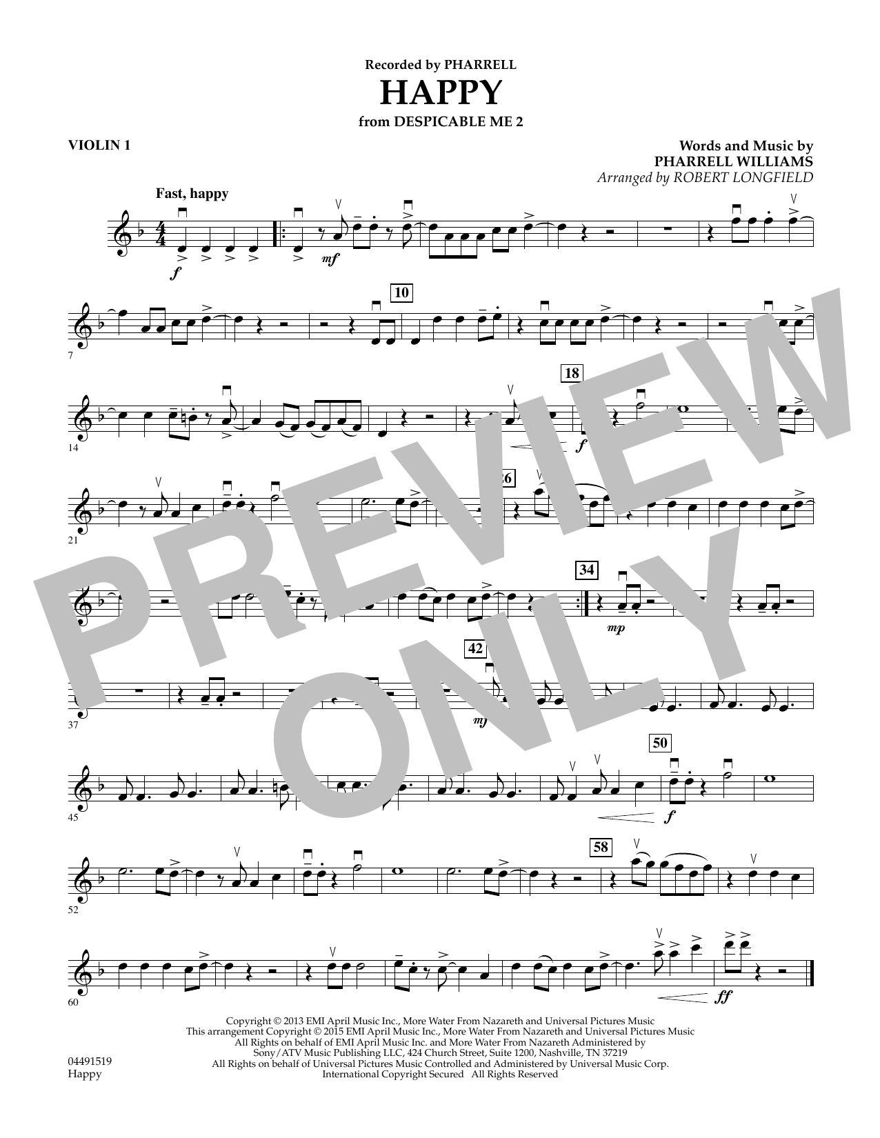 Robert Longfield Happy - Violin 1 sheet music preview music notes and score for String Quartet including 1 page(s)