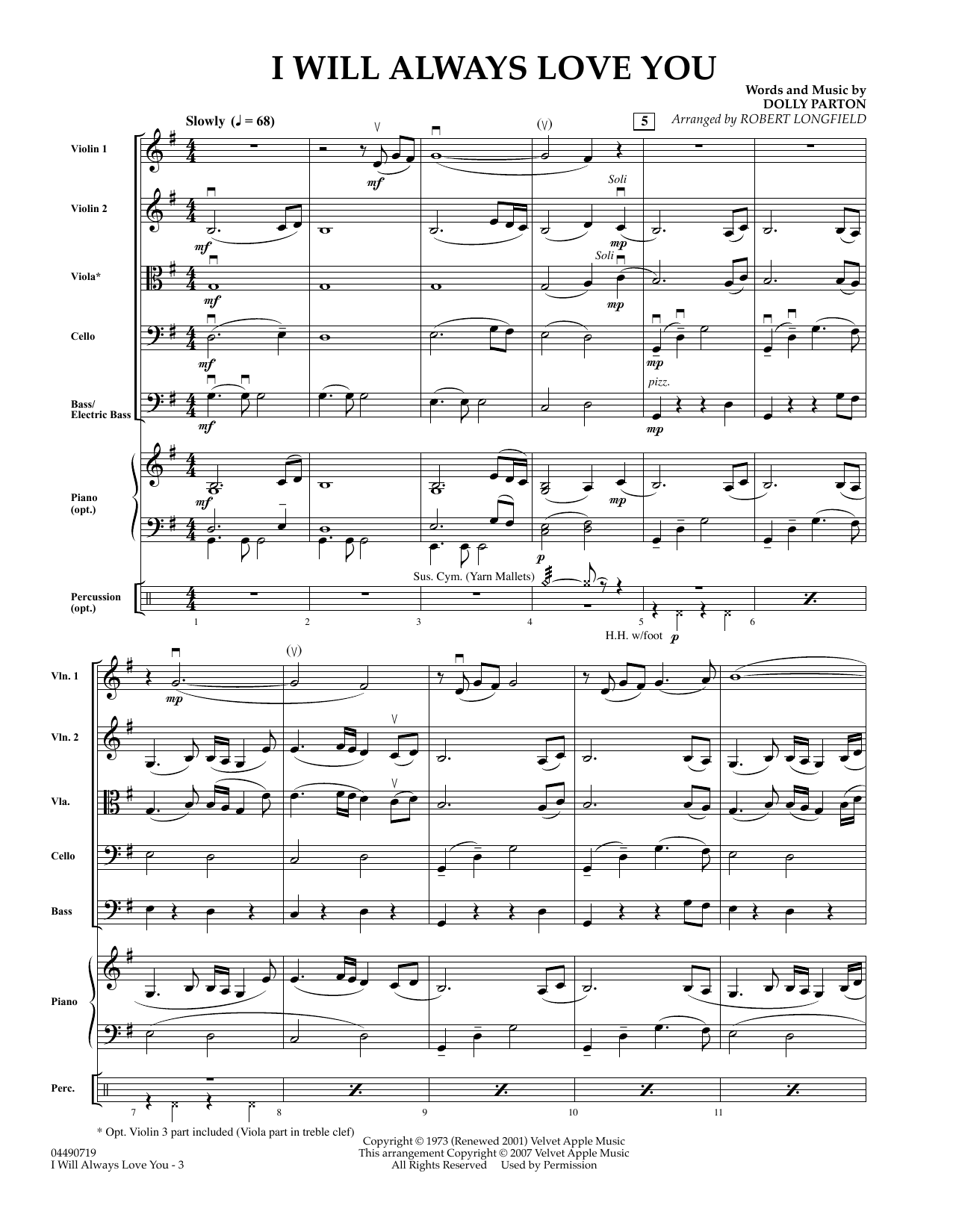 Robert Longfield I Will Always Love You - Full Score sheet music preview music notes and score for String Quartet including 4 page(s)