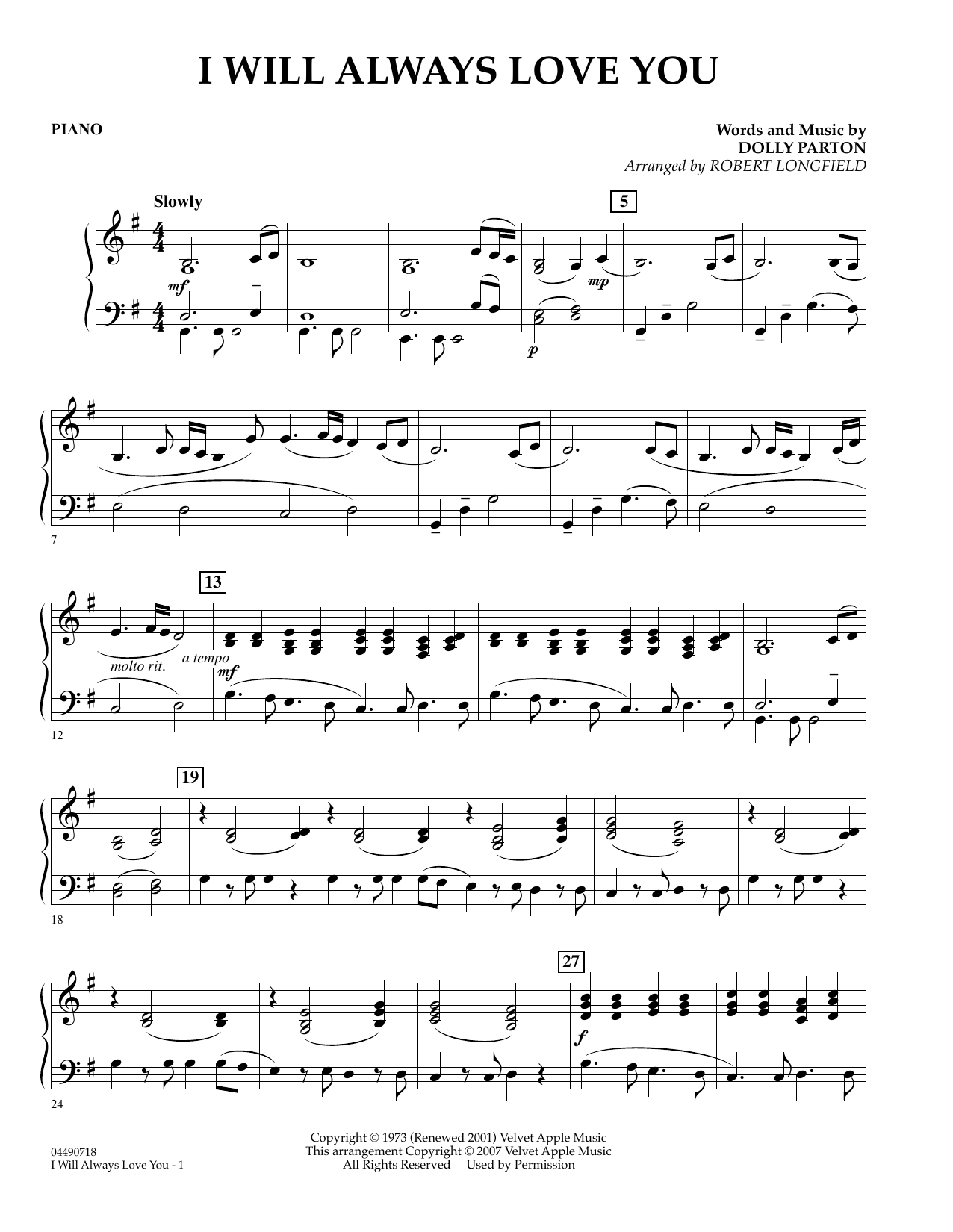 Robert Longfield I Will Always Love You - Percussion sheet music preview music notes and score for Orchestra including 2 page(s)