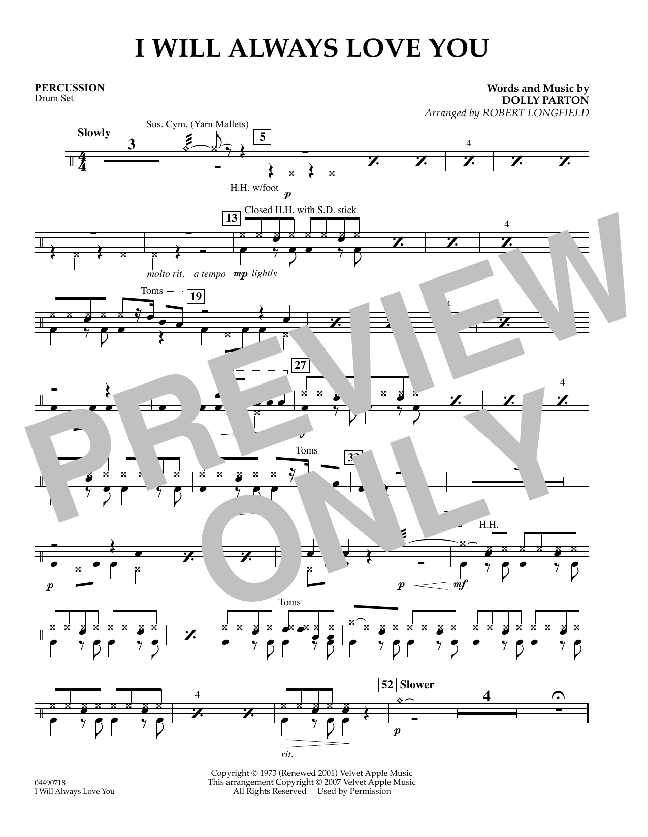 Robert Longfield I Will Always Love You - Piano sheet music preview music notes and score for Orchestra including 1 page(s)