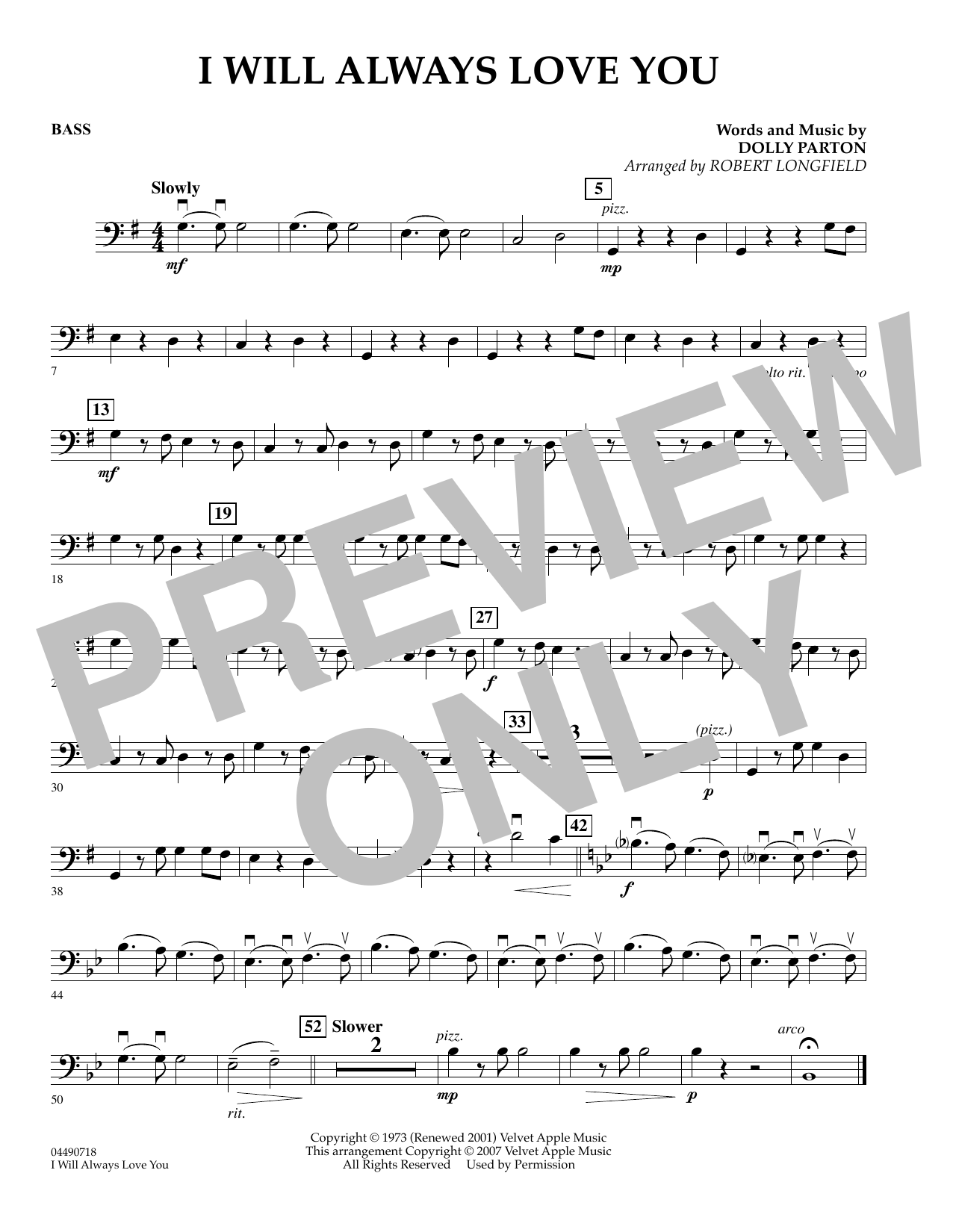 Robert Longfield I Will Always Love You - String Bass sheet music preview music notes and score for Orchestra including 1 page(s)