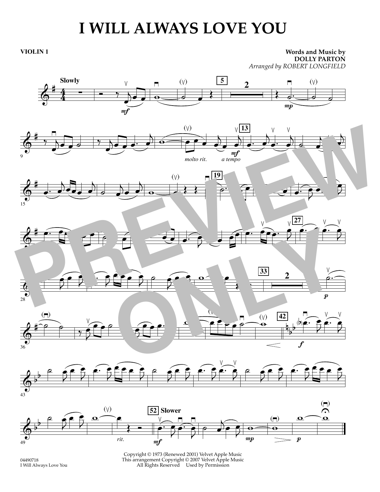 Robert Longfield I Will Always Love You - Violin 1 sheet music preview music notes and score for Orchestra including 1 page(s)