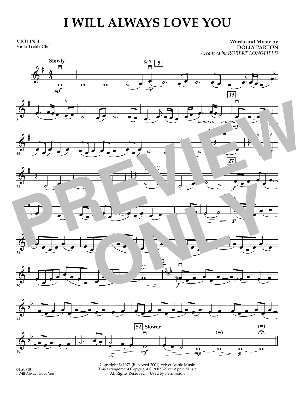 Robert Longfield I Will Always Love You - Violin 3 (Viola T.C.) sheet music preview music notes and score for Orchestra including 1 page(s)