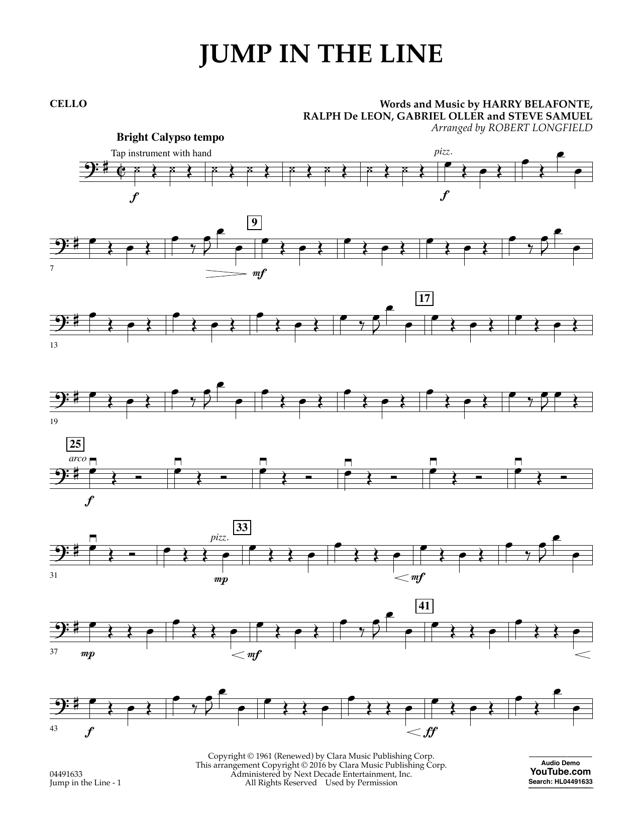 Download Robert Longfield 'Jump in the Line - Cello' Digital Sheet Music Notes & Chords and start playing in minutes