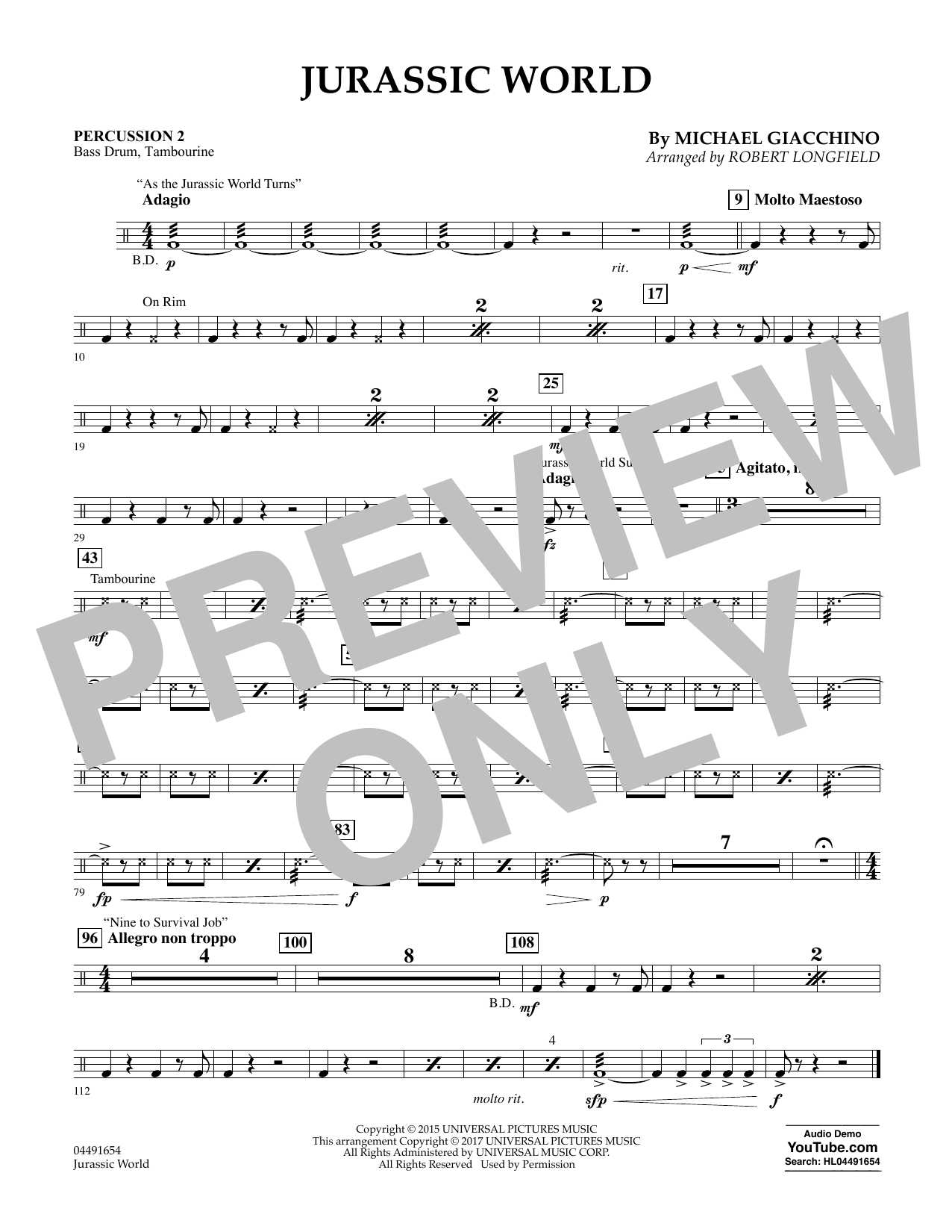 Robert Longfield Jurassic World - Percussion 2 sheet music preview music notes and score for Orchestra including 1 page(s)