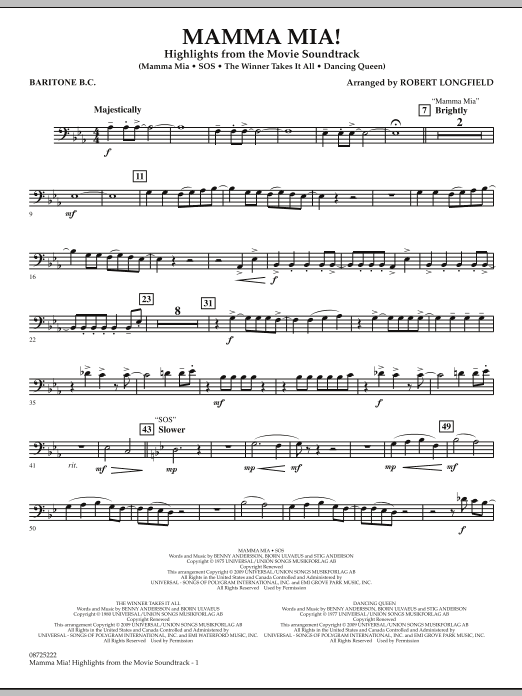 Robert Longfield Mamma Mia! - Highlights from the Movie Soundtrack - Baritone B.C. sheet music preview music notes and score for Concert Band including 2 page(s)