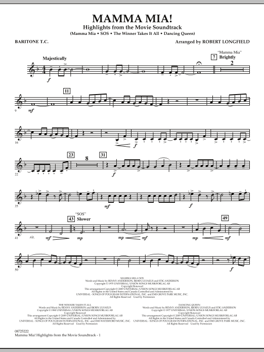Robert Longfield Mamma Mia! - Highlights from the Movie Soundtrack - Baritone T.C. sheet music preview music notes and score for Concert Band including 2 page(s)