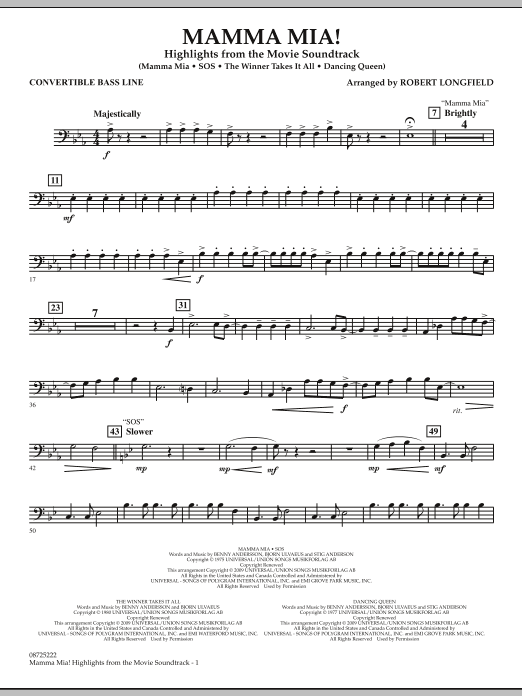 Robert Longfield Mamma Mia! - Highlights from the Movie Soundtrack - Convertible Bass Line sheet music preview music notes and score for Concert Band including 2 page(s)