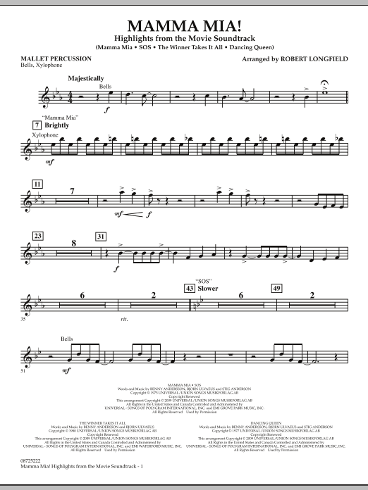 Robert Longfield Mamma Mia! - Highlights from the Movie Soundtrack - Mallet Percussion sheet music preview music notes and score for Concert Band including 2 page(s)