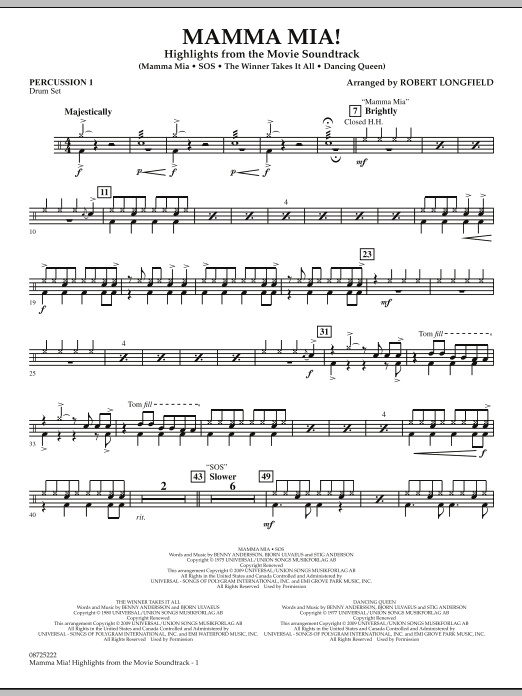 Robert Longfield Mamma Mia! - Highlights from the Movie Soundtrack - Percussion 1 sheet music preview music notes and score for Concert Band including 2 page(s)