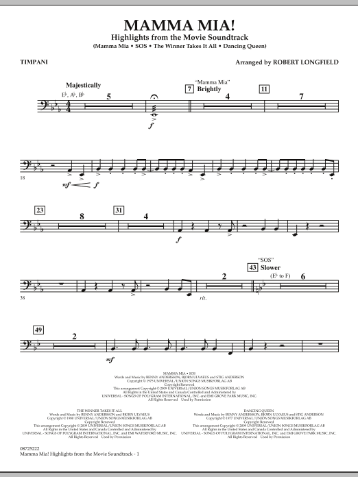 Robert Longfield Mamma Mia! - Highlights from the Movie Soundtrack - Timpani sheet music preview music notes and score for Concert Band including 2 page(s)