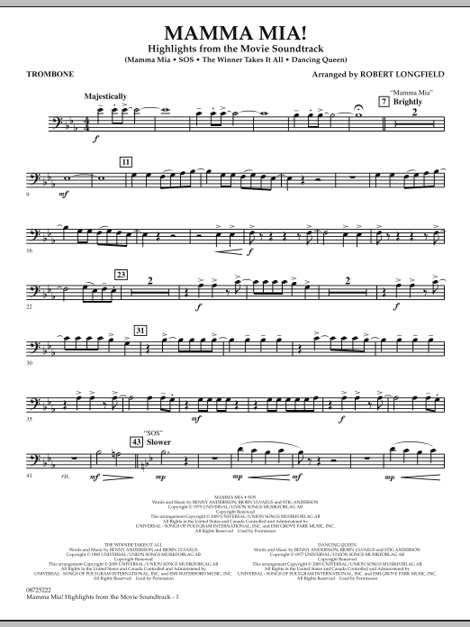 Robert Longfield Mamma Mia! - Highlights from the Movie Soundtrack - Trombone sheet music preview music notes and score for Concert Band including 2 page(s)
