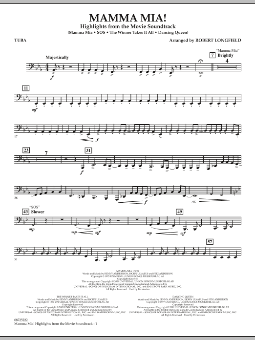 Robert Longfield Mamma Mia! - Highlights from the Movie Soundtrack - Tuba sheet music preview music notes and score for Concert Band including 2 page(s)