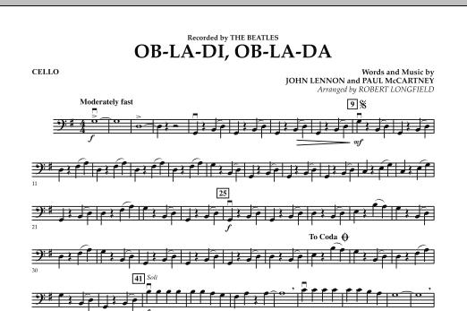 Robert Longfield Ob-La-Di, Ob-La-Da - Cello sheet music preview music notes and score for Orchestra including 1 page(s)