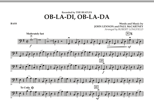 Robert Longfield Ob-La-Di, Ob-La-Da - String Bass sheet music preview music notes and score for Orchestra including 1 page(s)