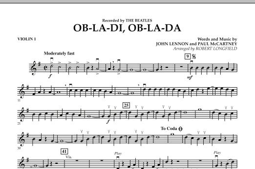 Robert Longfield Ob-La-Di, Ob-La-Da - Violin 1 sheet music preview music notes and score for Orchestra including 1 page(s)