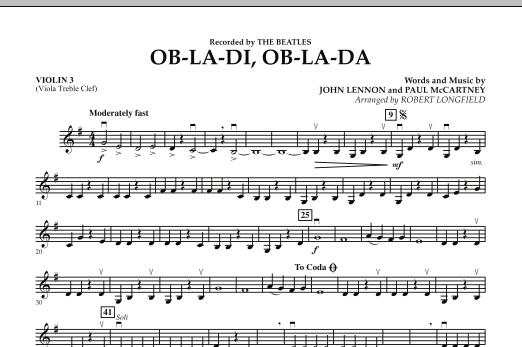Robert Longfield Ob-La-Di, Ob-La-Da - Violin 3 (Viola T.C.) sheet music preview music notes and score for Orchestra including 1 page(s)