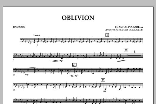 Robert Longfield Oblivion - Bassoon sheet music notes and chords