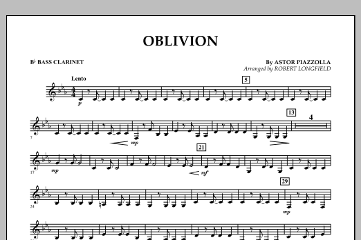 Robert Longfield Oblivion - Bb Bass Clarinet sheet music notes and chords