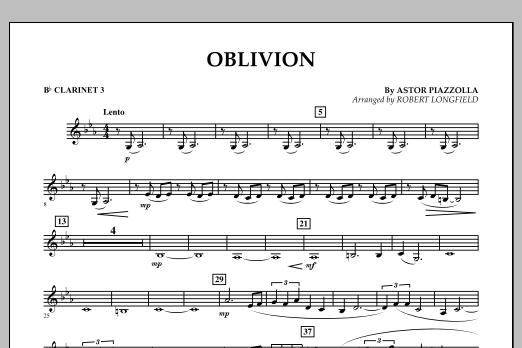 Robert Longfield Oblivion - Bb Clarinet 3 sheet music notes and chords