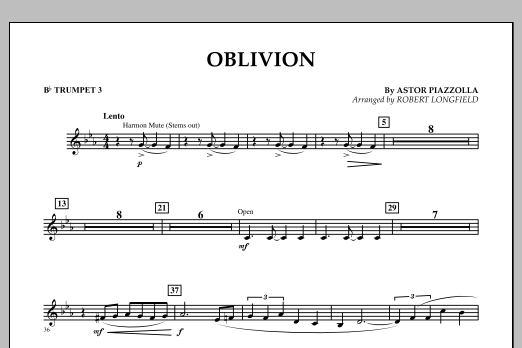 Robert Longfield Oblivion - Bb Trumpet 3 sheet music notes and chords