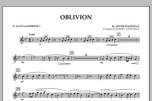 Robert Longfield Oblivion - Eb Alto Saxophone 1 sheet music notes and chords