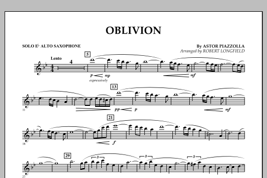 Robert Longfield Oblivion - Eb Alto Saxophone Solo sheet music notes and chords