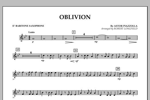 Robert Longfield Oblivion - Eb Baritone Saxophone sheet music notes and chords
