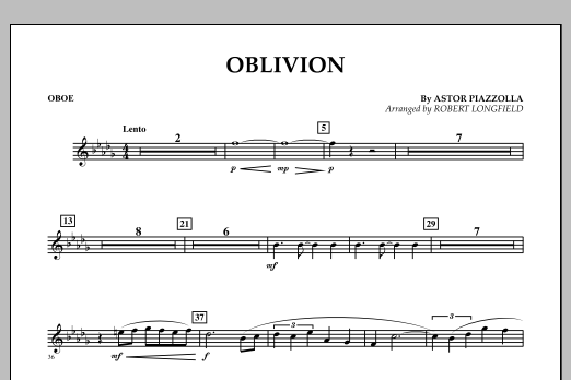 Robert Longfield Oblivion - Oboe sheet music notes and chords