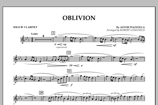 Robert Longfield Oblivion - Solo Bb Clarinet sheet music notes and chords