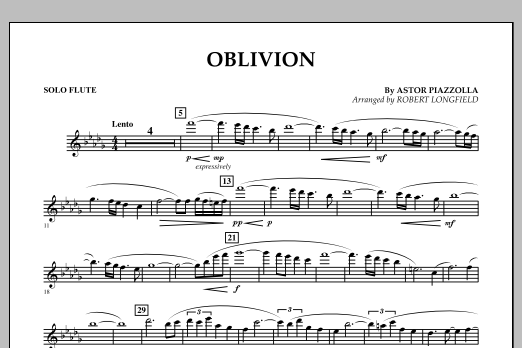 Robert Longfield Oblivion - Solo Flute sheet music notes and chords