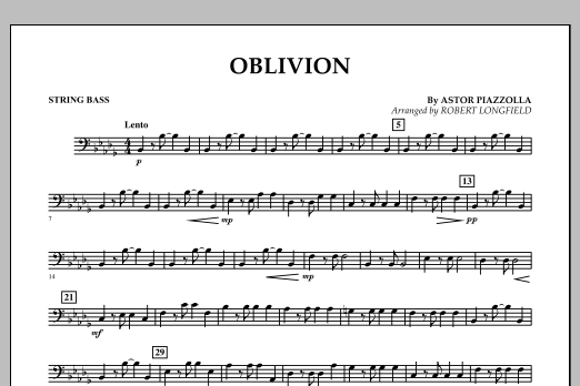 Robert Longfield Oblivion - String Bass sheet music notes and chords