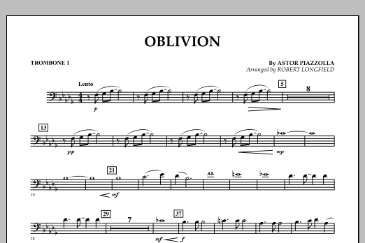Robert Longfield Oblivion - Trombone 1 sheet music notes and chords