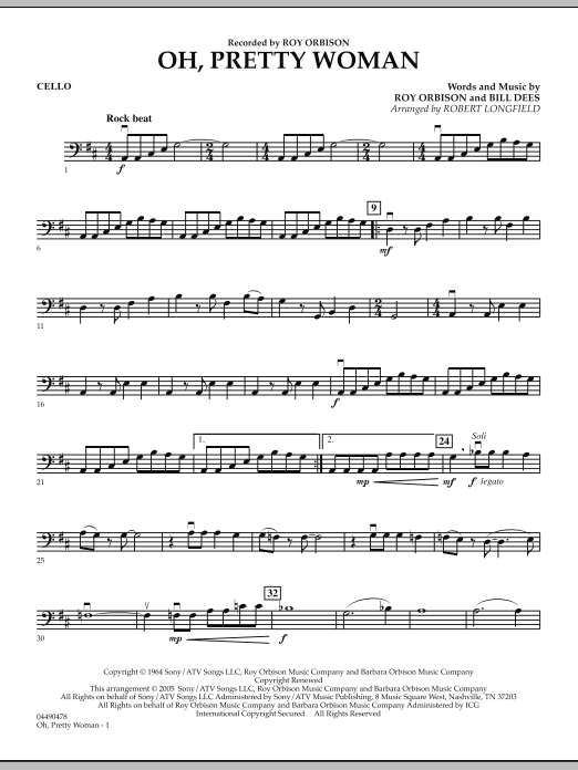 Robert Longfield Oh, Pretty Woman - Cello sheet music preview music notes and score for String Quartet including 2 page(s)